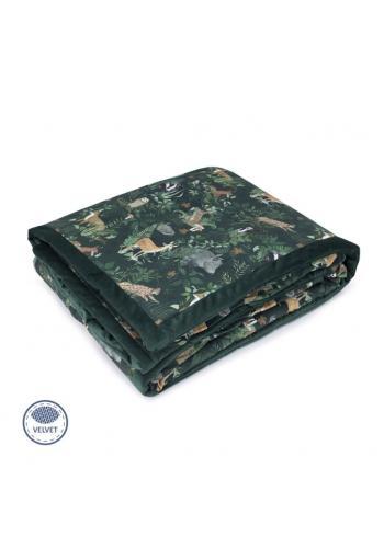 Zamatová teplá deka - zvieratá/tmavo zelená