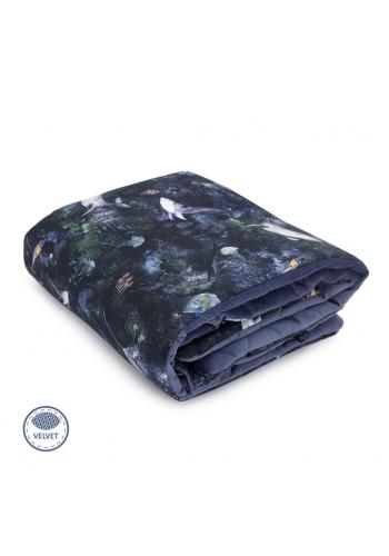 Modrá zamatová teplá deka pre deti s motívom magického lesa