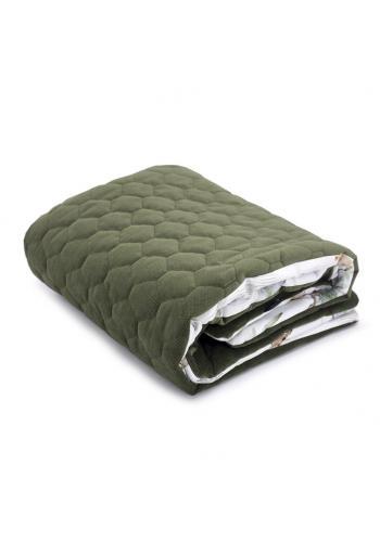 Detská zamatová teplá deka zelenej farby s motívom Savany