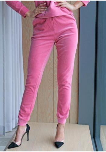 Ružové velúrové tepláky pre dámy