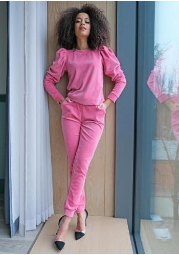 Štýlový velúrový komplet teplákov a mikiny v ružovej farbe