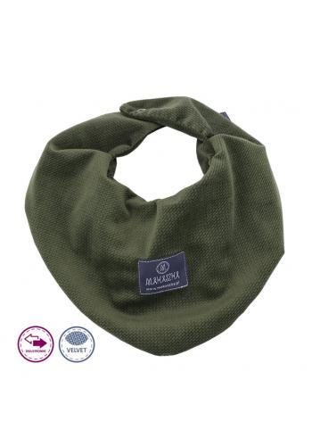 Zelený obojstranný zamatový šál na suchý zips