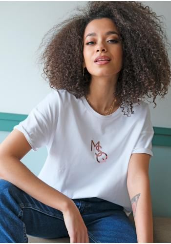 "Biele dámske tričko s ružovo-zlatým logom ""MSQ"""