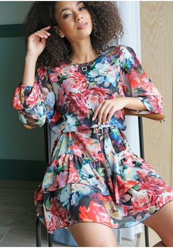 Šifónové kvetované šaty s volánmi na sukni