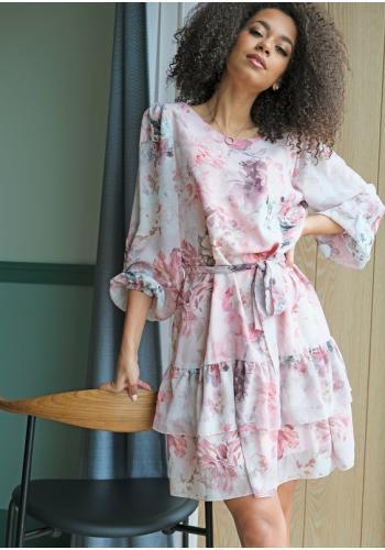 Dámske šifónové šaty s potlačou kvetov a volánmi na sukni