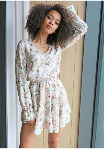 Krátke jarné kvetinové šaty stiahnuté v páse s dlhým rukávom