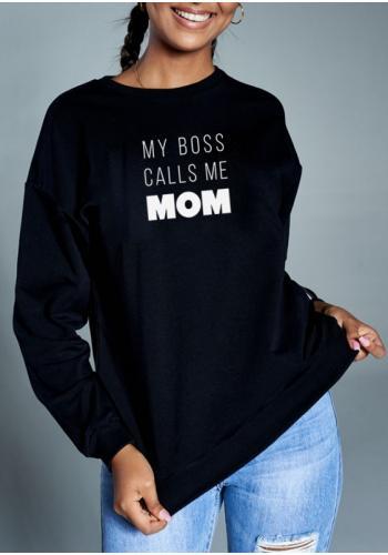 """Čierna mikina pre mamičky s nápisom """" my boss calls..."""""""