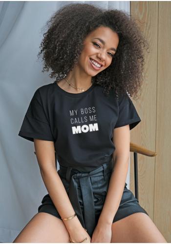 "Čierne dámske tričko s nápisom "" my boss calls..."""