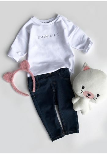 "Dievčenská biela mikina s nápisom s nápisom ""hasztag minilife"""