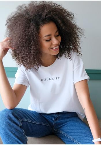 "Biele klasické bavlnené tričko s nápisom ""hasztag mumlife"""