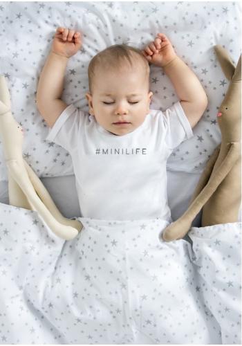 """Biele bavlnené tričko s krátkym rukávom pre deti s nápisom """"hasztag minilife"""""""