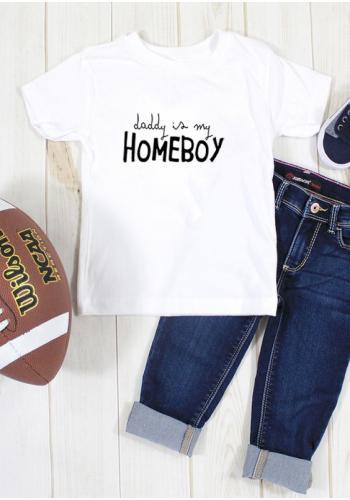 """Tričko s krátkym rukávom pre deti v bielej farbe s nápisom """"daddy is my homeboy"""""""