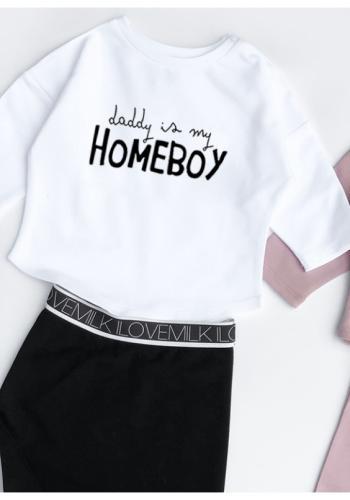 "Detská mikina s nápisom  ""daddy is my Homeboy"" v bielej farbe"