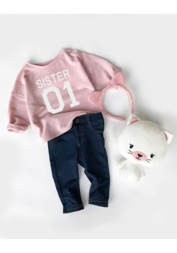 """Ružová bavlnená mikina pre dievčatá s nápisom """"sister 01"""""""