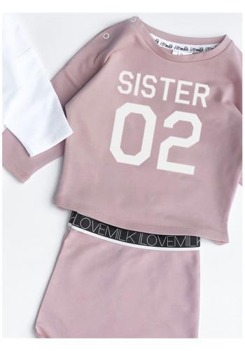 """Dievčenská mikina v ružovej farbe s nápisom """"sister 02"""""""