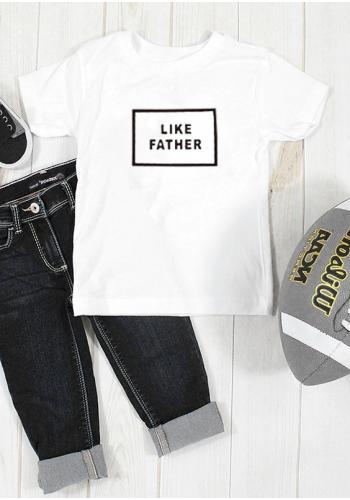 """Detské tričko s krátkym rukávom v bielej farbe s nápisom """"like father"""""""