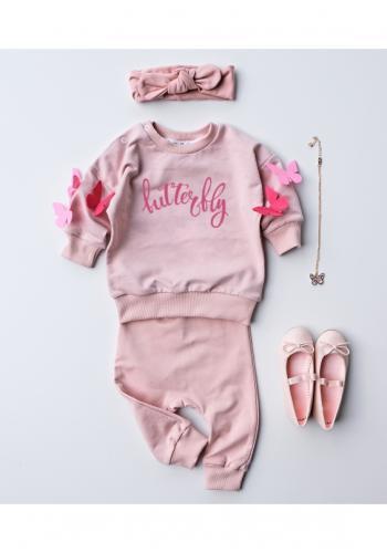 """Štýlová dievčenská mikina v ružovej farbe s nápisom """" butterfly"""" a ozdobnými motýľmi na rukávoch"""