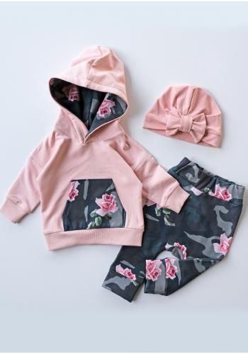 Ružová mikina pre dievčatá s kapucňou a vreckom s motívom kvetov