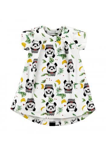 Krémové šaty s potlačou pandy