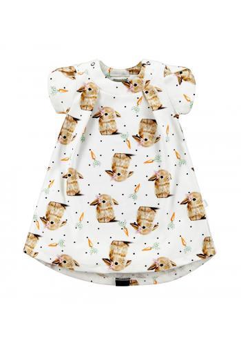 Bavlnené šaty s krátkym rukávom potlačou zajačika