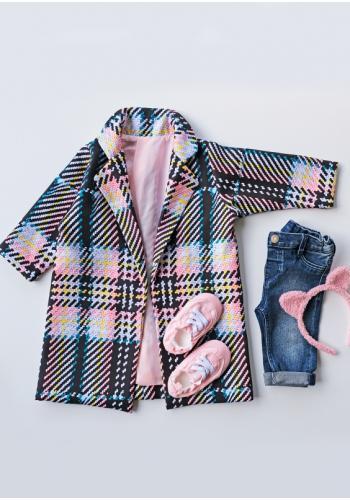 Fleecový detský kabát pre dievčatá s kockovaným motívom