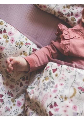 Saténovo-zamatová detská posteľná sada s motívom retro kvetín - ružová