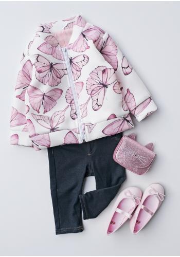 Dievčenská bunda v bielej farbe s potlačou ružových motýľov