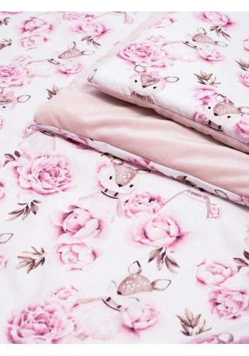 Zamatová detská posteľná sada s motívom srniek a kvetov