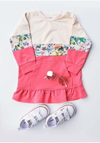 Dievčenské trojfarebné šaty s vreckom a kapucňou - ružová
