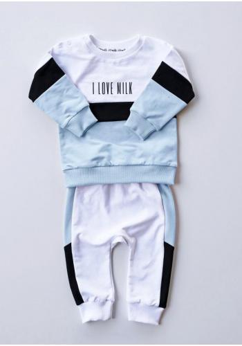 Biele detské nohavice s modro-čiernym pásom na boku