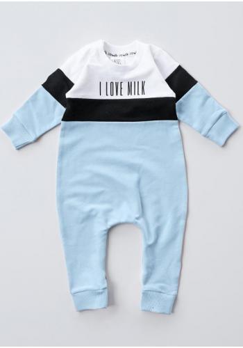 Modrý chlapčenský overal s dlhým rukávom s nápisom I love milk