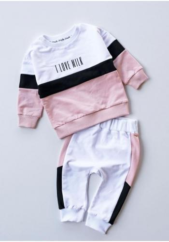 Biele dievčenské nohavice s ružovo-čiernym pásom na boku