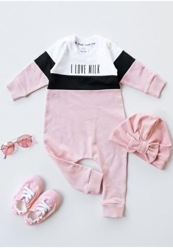 Ružový dievčenský overal s dlhým rukávom s nápisom I love milk