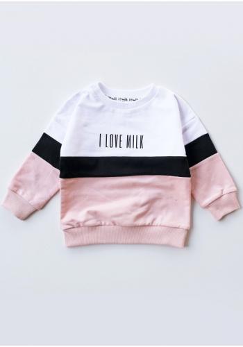 Trojfarebná dievčenská pastelová mikina s nápisom I love milk - ružová