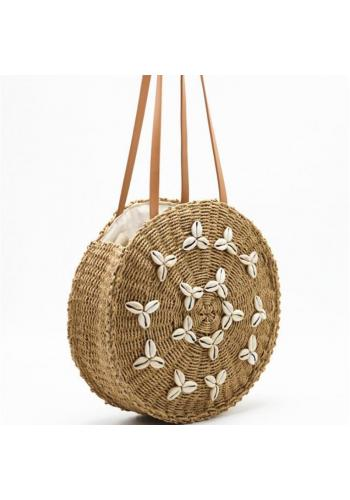 Okrúhla prútená kabelka s mušľami pre dámy