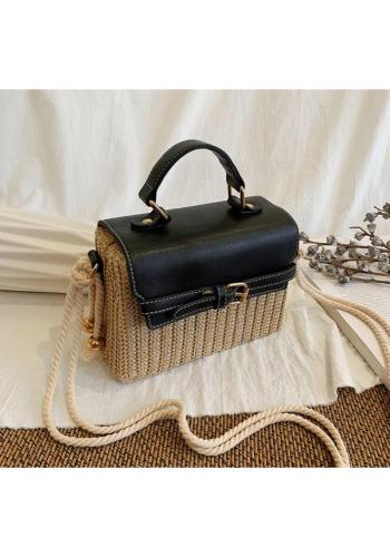 Dámska prútená kabelka s čiernou ekokožou
