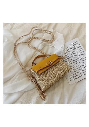 Prútená dámska kabelka so žltou ekokožou