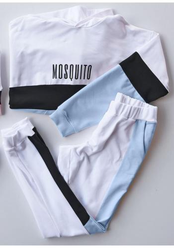 Dámske tepláky v bielej farbe s modro-čiernym pásom na bokoch