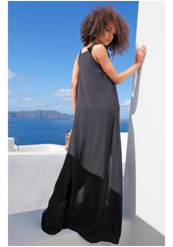 Dámske maxi šaty s viazaním na pleciach a rázporkom v čiernej farbe