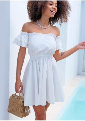 Biele krátke šaty španielskeho štýlu pre dámy