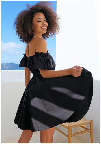 Čierne krátke šaty španielskeho štýlu pre dámy