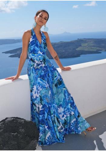 Maxi šaty s viazaním kolo krku s V výstrihom v modrej farbe, s motívom banánových listov