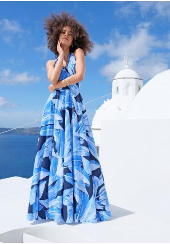 Modré maxi šaty s viazaním kolo krku s V výstrihom s motívom modrých listov
