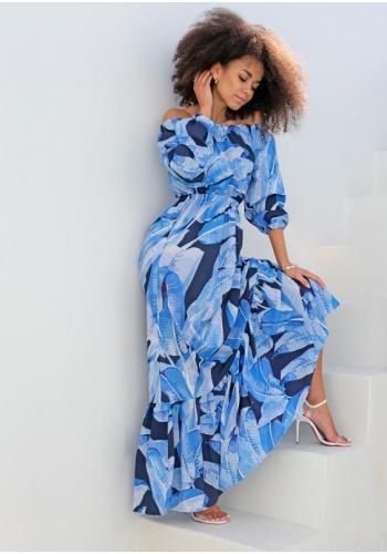 Dámske maxi šaty v španielskom štýle s potlačov modrých listov
