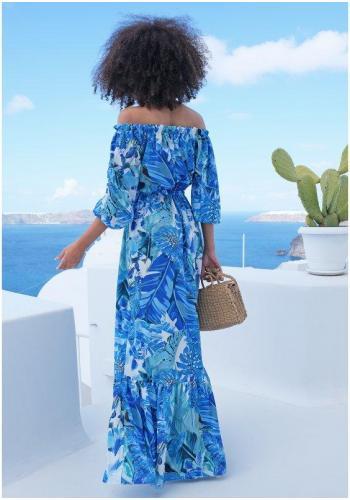 Štýlové maxi šaty v španielskom štýle s potlačov modrého banánového lístia