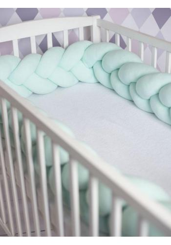 Uzlíkový chránič pre deti do postieľky v mätovej farbe