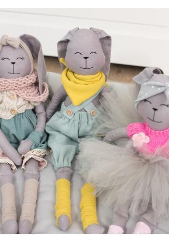 Detský textilný králik v sivej farbe - Dominik