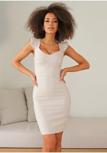 Obtiahnuté dámske kárované šaty v béžovej farbe
