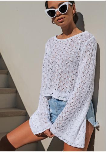 Krátky dierkovaný bavlnený sveter so zvoncovými rukávmi
