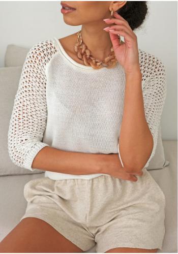 Dámsky letný smotanový sveter so sieťkovanými rukávmi